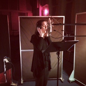 Julia Booth recording vocals