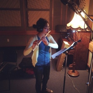 Feby Idrus recording the flute part